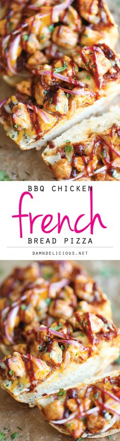 BBQ Chicken French Bread Pizza - The best and easiest BBQ chicken pizza ever - no kneading, no rolling, no nothing. And all you need is 10 min prep!