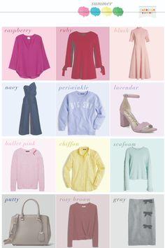 What to Wear – Summer Capsule Wardrobe – Seasonal Color Analysis Capsule Wardrobe, Capsule Outfits, Travel Outfits, Zooey Deschanel, Soft Summer Color Palette, Summer Colours, Apple Shape Outfits, Summer Work Wardrobe, Blond