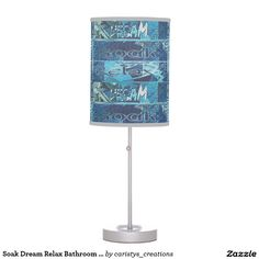 Shop Soak Dream Relax Bathroom Vanity Light (Blue) Table Lamp created by caristys_creations. Bathroom Vanity Lighting, Pendant Lamp, Relax, Table Lamp, Pillows, Lamps, Bathrooms, Light Blue, Desk