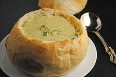 Panera Bread: broccoli and cheese soup in a bread bowl.