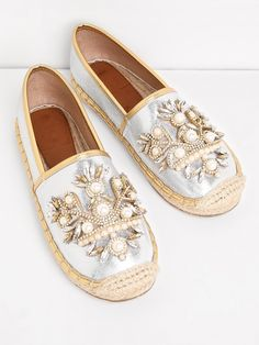 SheIn offers Faux Pearl & Rhinestone Cap Toe Flats & more to fit your fashionable needs. I Love My Shoes, Pretty Shoes, Ballerinas, Shoe Makeover, Espadrilles, Bling Shoes, Shoe Boots, Shoe Bag, Shoe Clips