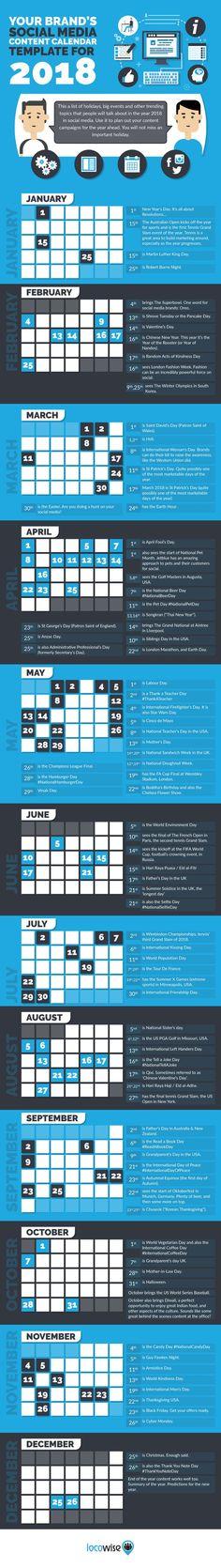 Your Brand's Social Media Content Calendar Template For 2018