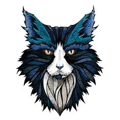 """- Product: blue cat head wall sticker - Sizes: S-11.5""""w x 14.7""""h; M-14.7""""w x 18.7""""h; L-28""""w x 36""""h - Colors: blue, turquoise, black, white, tan, gold, red - Style: highly-detailed, colored illustratio"""
