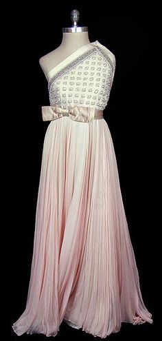 Pierre Balmain couture evening gown 1970 single shoulder silver and pearl beaded silk satin goddess gown with french silk chiffon.