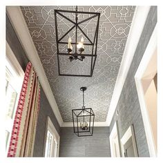 Lisa Mende Design covered the walls of the mudroom with silvery grasscloth and the ceiling with bamboo lattice-printed wallpaper. darlana medium lantern e. chapman for visual comfort/Circa Lighting Ceiling Detail, Ceiling Design, Trim Paint Color, Ceiling Treatments, Painting Trim, Trendy Wallpaper, Wallpaper Ideas, Bathroom Wallpaper, Hanging Lanterns