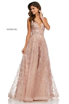 A0681 | Rose gold gown, Dressy dresses, Lace evening gowns