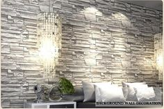 Blooming Wall: 20.8 In*32.8 Ft=57 Sq Ft, Wallpaper Faux Rust Tuscan Brick Wall Paper Roll,Looks Real Up!Grey