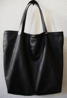 Grand lisse noir cuir de vachette cuir sac à main par DalleMieMani