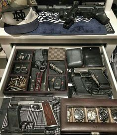 Now this is a manly drawer. Weapon Storage, Gun Storage, Weapons Guns, Guns And Ammo, Edc Tactical, Tactical Knife, Gun Rooms, By Any Means Necessary, Edc Everyday Carry