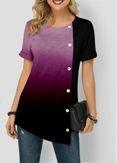 Women'S Purple Tunic Casual T Shirt Color Block Short Sleeve Blouse Gardient Asymmetric Hem Button Detail Round Neck Top By Rosewe Gradient Asymmetric Trendy Tops For Women, Stylish Tops, Trendy Fashion, Fashion Outfits, Ladies Fashion Tops, Womens Fashion, Pull Long, Shirt Sale, Printed Blouse