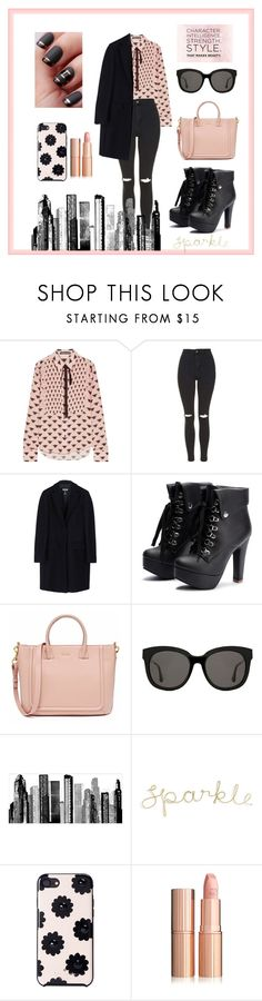 """""""The new me"""" by nadyachristina ❤ liked on Polyvore featuring Markus Lupfer, Topshop, MSGM, Gentle Monster, RoomMates Decor and Kate Spade"""
