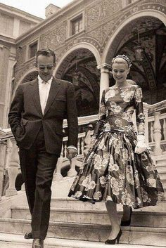 Grace Kelly and Prince Rainier on the day they met in Cannes, 1955