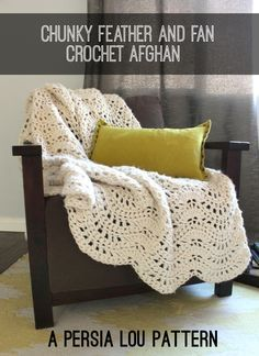 Make this gorgeous throw with Lion Brand Wool-Ease Thick & Quick! The free Chunky Feather and Fan Crochet Blanket pattern by Persia Lou includes chart and video tutorial!