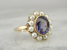 Classic Vintage Alexandrite and Pearl Cocktail Ring  by MSJewelers, $545.00
