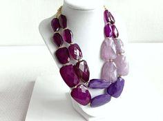 Purple Statement Necklace - Purple Beaded Necklace - Purple Jewelry - Statement Jewelry - Geometric on Etsy, $21.75