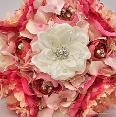 Custom Peony, Ranunculus and Hydrangea Jeweled Flower Bouquet:) How would you customize your wedding bouquet???:) #bridal #bouquet #pink