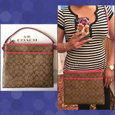 "Authentic Coach Logo Handbag % AUTHENTIC✨ Beautiful and classic logo handbag from Coach! Colòrs: Khaki & Dahlia (Pink) Lightweight & very spacious! Length 11 1/2"" Height 10 1/2"" Width 2"" w/ adjustable long strap. Exterior front compartment and 3 inside interior pockets. Yellow gold tone hardware. New w/ tag! NO TRADE  PRICE IS FIRM‼️ Coach Bags Crossbody Bags"