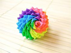 This is our most widely-known picture, and our bestselling ring. : ) Neon Rainbow Duct Tape Rose Ring - Colorful Duck Tape Flower Ring