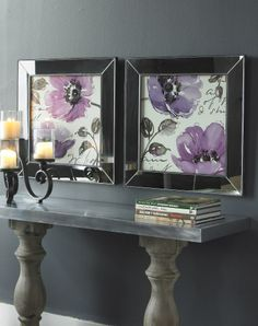 twin flower wall decor that comes in a #RadiantOrchid shade.   #chair #luxury #revenge #mirrors #lamps #accentfurniture #walldecor #affordable #designerfurniture #HomeDesignerproducts #Uttermost #Australia
