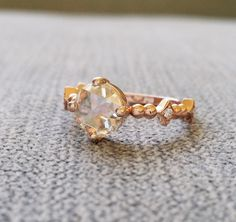 """Antique Rose Cut Moissanite Diamond Engagement Ring Victorian Renaissance Baroque Georgian Bohemian Classic 14K Gold """" The Charlemagne"""" by PenelliBelle on Etsy https://www.etsy.com/listing/474088002/antique-rose-cut-moissanite-diamond"""
