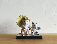 Vintage Cat with Yellow Umbrella & Kitten Ceramic Porcelain Japan Anthropomorphism Figure Knick Knack Collectable Kitty Cats Unique 1940s