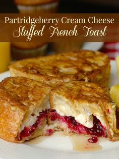 Partridgeberry Cream Cheese Stuffed French Toast - for a luxurious, decadent weekend brunch, nothing beats cream cheese stuffed French toast. Susbstitute any favourite jam of your choice.