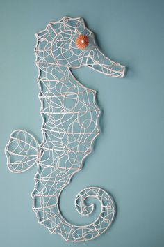 Beach Wall Decor Metal Wire Sea Horse- Shabby Chic White with Pink Sea Urchin Eye on Etsy, $72.00