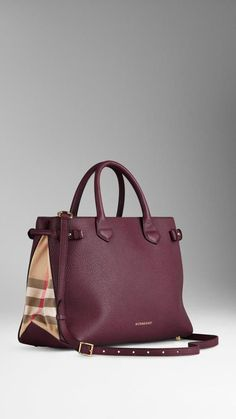 6e736920c6fa Burberry The Medium Banner In Leather And House Check Tote Handbags