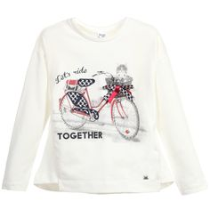 Mayoral Girls Ivory Bicycle & Kitten Print Top at Childrensalon.com