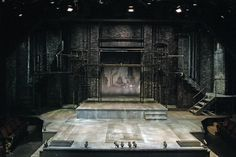 Sweeney Todd. Cygnet Theatre in San Diego, CA. By Sean Fanning. It uses all design elements rather equally. Black and gray are used frequently. It uses a horizontal and vertical lines from the metal bars. It uses texture from the bricks in the back. It uses shape with the squares made by the platforms and pipes. The effectiveness of the design is that it shows the dark themes and actions of the play. The bricks on the walls and metal pipes make it seem to be an older, maybe haunted…