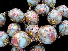 Blue Pink Rose Venetian Murano Wedding Cake Foil Art Glass Bead Vintage Necklace