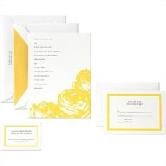 A fresh take on a yellow rose, invitation from Weddings by Kate Spade New York for Crane & Co. So fabulous, fun and fresh!