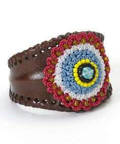 This Blue & Hot Pink Crochet Circle Leather Cuff by PANNEE JEWELRY is perfect! #zulilyfinds