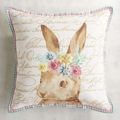 Bunny Floral Halo Pillow