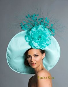 Aqua Turquoise Derby hat, Classic Kentucky derby hat, Couture Derby Hat