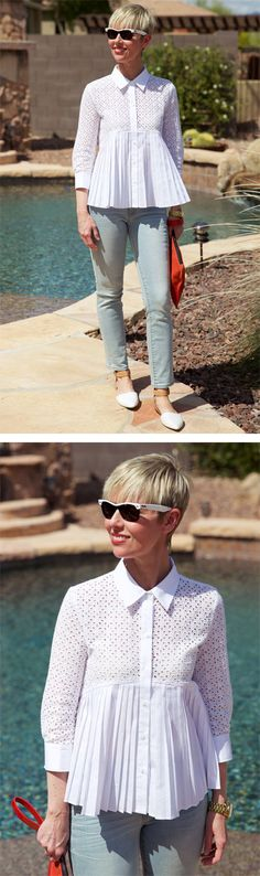 I combined a new eyelet top with ankle length jeans and ankle strap flats to create a Boho-Lite look for Summer. You Look Fab, Corporate Chic, Classic White Shirt, Eyelet Top, Ankle Strap Flats, White Shirts, Franco Sarto, Casual Fall, Jeans Pants