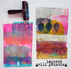 Journal Girl, aka Samie Harding. Layered Gelli Printing! After a couple of days of a lack of painting mojo, I decided to pull out my gelli plate and play around. I knew once I got into the steady motion of spreading color, putting down stencils, and pulling up prints, I'd begin to feel myself again, inspired and calmed by this simple tool.