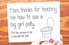 Funny Mother's Day Card - Mum, Mom Birthday - Mothers Day: Mom, Thanks for Teaching Me How to Use a Big Girl Potty... on Etsy, $4.00