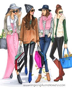 Fashion Illustration of girls friends going out for shopping by Houston fashion Illustrator Rongrong DeVoe. More sketches on www.rongrongillustration.etsy.com