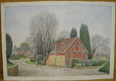 Original Painting Watercolour  Mill Hill, Baginton  Warwickshire Cottage - Art