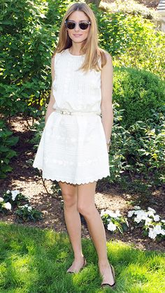 16 Street Style Stars in Little White Dresses (LWDs) - Olivia Palermo from #InStyle