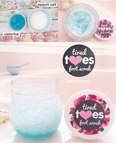 Make an exfoliating foot scrub using Listerine! Exfoliates, removes foot odor, and leaves your feet tingly and refreshed.