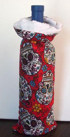 Handmade Wine Bag Terry Lined Sugar Skull Fabric by SoraCreations, $12.00