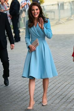 11 May The Duchess of Cambridge embarked on her second solo overseas tour in Luxembourg wearing a powder blue Emilia Wickstead coat,  Kiki McDonough earrings and nude court heels.