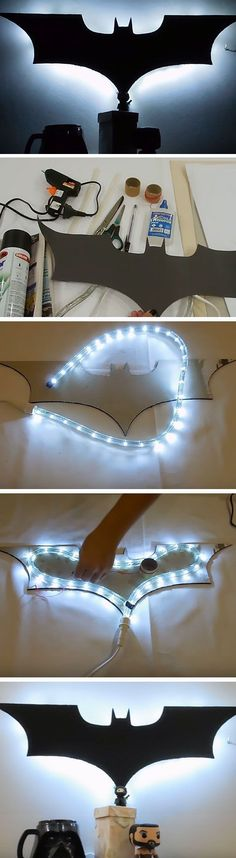 Batman Luminary | 16 DIY Man Cave Decor Ideas for Small Spaces that will rock your world! #diy_decor_for_men