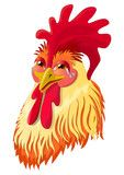 Vector: The emotional version of the character - the rooster laughs. Vector illustration.