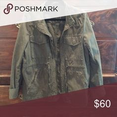 J. Crew Field Jacket Army green. Adjustable drawstrings around the waist so very flattering. Goes with almost anything! J. Crew Jackets & Coats