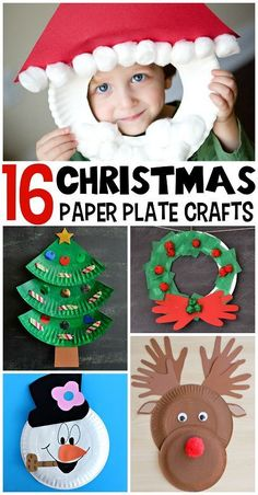 Christmas paper plate crafts for kids to make.  Great collection of easy Christmas crafts for young children, Santa, Snowman, Reindeer, Christmas trees and more, all made from paper plates. - Happy Hooligans