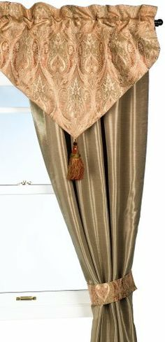 Waterford Brogan Ascot Valance, Moss/Russet by Waterford. $94.95. Ascot Valance. 40 b y 25 inches. Embellished with decorative trim. Draperies coordinate with bedding to complete the entire room look. Silk / polyester blend. The Waterford brogan bedding collection is a classic paisley design in a rich russet and loden color way.  Russet silk and sage jacquard European shams and pillows add to the traditional elegance of this bedding ensemble.  Main fabrics are a blend of silk a...