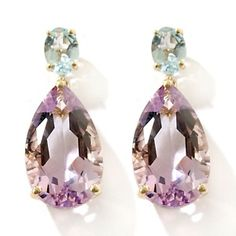 love this color combo. Rarities: Rose de France Amethyst and Brazilian Sky Blue Topaz 10K Earrings